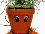 Muñeco para jardin hecho macetas barro