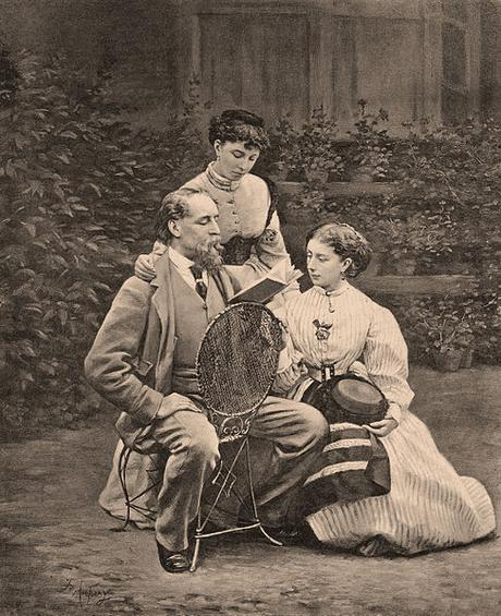 Charles Dickens leyendo a sus hijas Mamie y Katie