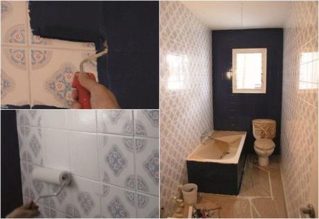 Ideas para decorar un ba o antiguo sin gastar mucho paperblog - Pintura baldosas bano ...