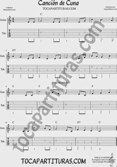 Canci n de cuna de brahms tablatura y punteo de guitarra for Cancion de cuna de brahms