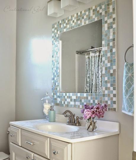 Diy espejo mosaico para cuarto de ba o paperblog for Manualidades para decorar espejos