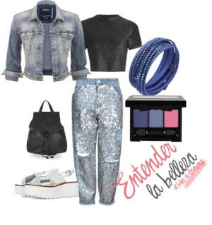 Look Denim con pantalón lentejueas