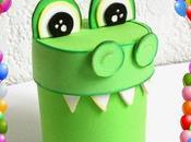 Manualidades dulcero cocodrilo reciclaje