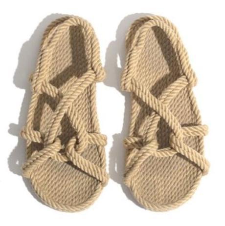 cuerda sandalias planas