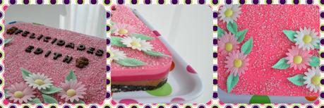 Tarta de chocolate con leche y chocolate blanco de ¡colores rosas!