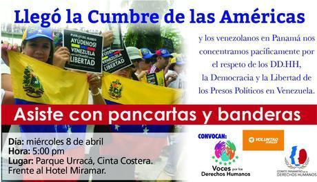 Venezolanos en Panamá Convocara a Protestas durante Cumbre de las Américas