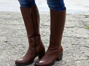 Brown leather boots white coat