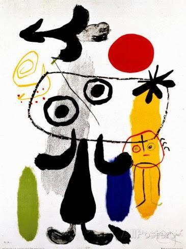 Joan Miro, figura contra el sol rojo