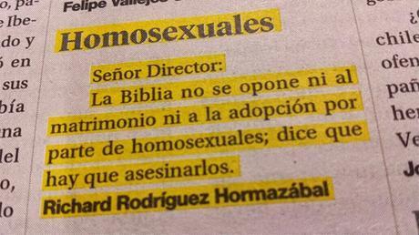 Polémica en diario chileno por carta que habla de matar homosexuales