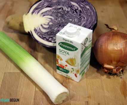 ingredientes para crema de lombarda