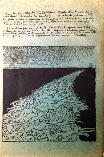 Dibujo de Castelao, en la nota superior se interesa por los documentos gallegos.
