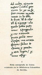 Nota autógrafa de Colón