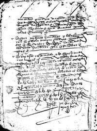 Memorial y poder concedido por Diego Colon, donde firma como testigo, Diego de Sotomayor.