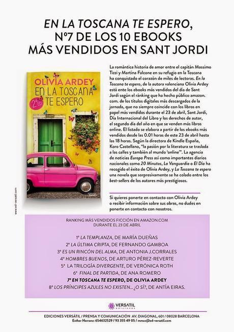 EN LA TOSCANA TE ESPERO 7º ebook más vendido del Día de Sant Jordi