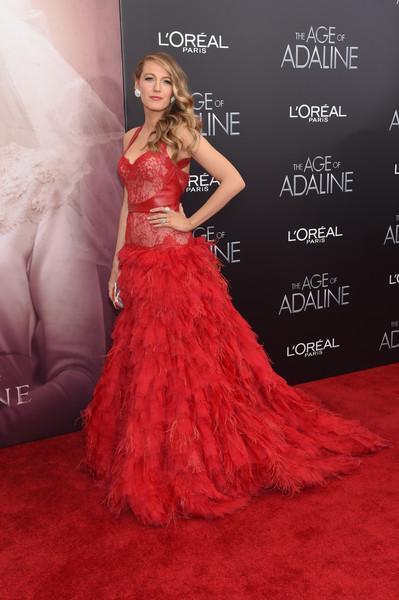 Blake Lively red dress Monique Lhuillier