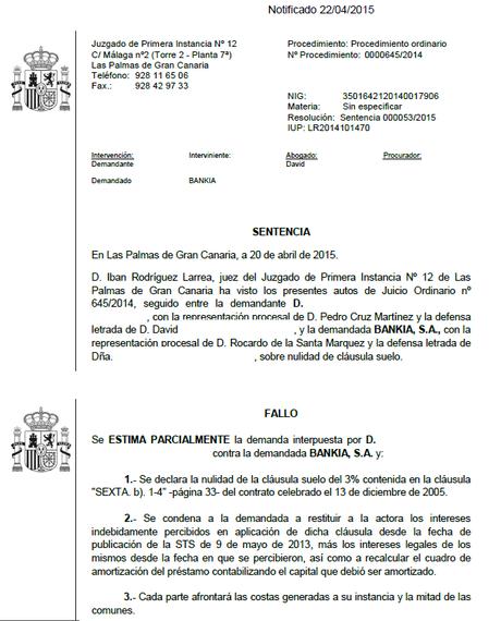 Nueva sentencia conseguida por nuestros abogados en for Anulacion clausula suelo