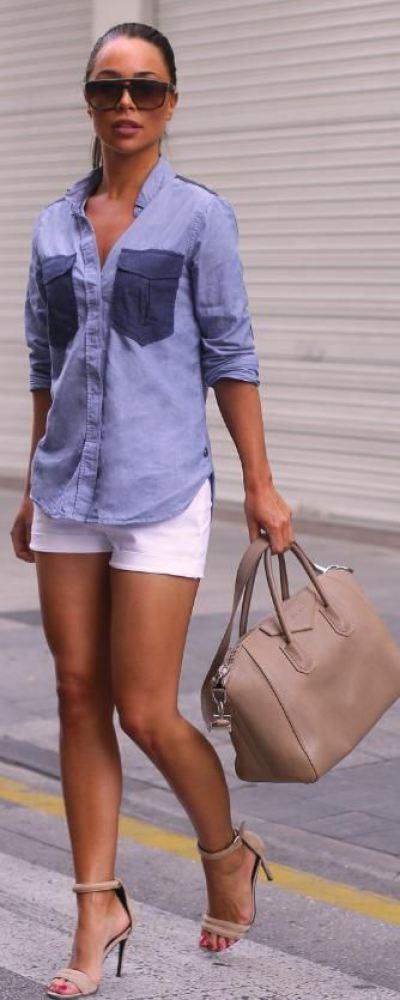 look con shorts blancos