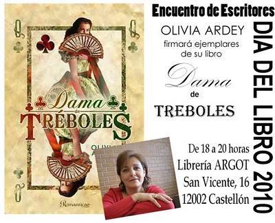 Castellón, 23 de abril. Firma de ejemplares de mi novela DAMA DE TRÉBOLES