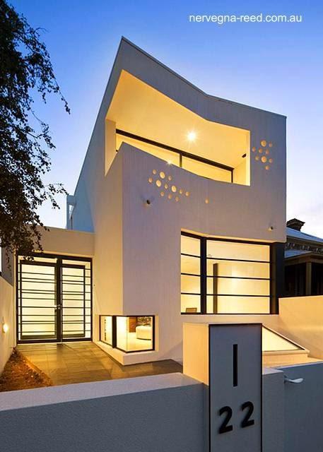 Casa angosta contemporánea minimalista urbana en Melbourne, Australia