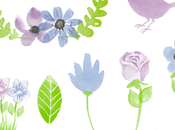 Clipart flores acuarela cartelitos bonitos