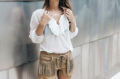 Polo_Ralph_Lauren-Bilbao-Collage_Vintage-Ruffled_Lace_Up_Blouse-Deerskin_Fringe_Short-Cardigan-Raffia_Wedges-Guggenheim-6
