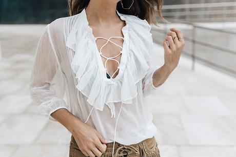 Polo_Ralph_Lauren-Bilbao-Collage_Vintage-Ruffled_Lace_Up_Blouse-Deerskin_Fringe_Short-Cardigan-Raffia_Wedges-Guggenheim-2