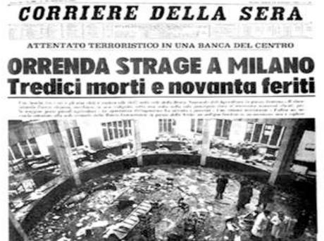 Portada del Corriere della Sera el día después del atentado en Piazza Fontana