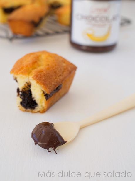Mini quatre quart con crema de chocolate negro y banana