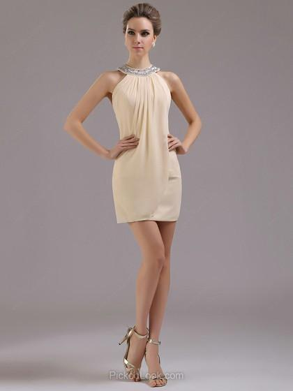 Vestido tubo Escote Joya Corto/Mini Chifón Vestido de Noche con Strass #Ces02042236
