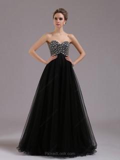 Princesa Escote corazón Hasta el suelo Tul Vestido de Noche con Strass #Ces02014384
