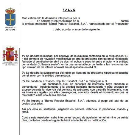Nueva sentencia ganada por nuestros abogados contra banco for Clausula suelo banco popular
