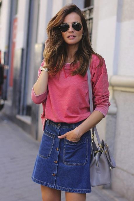 Buttoned Denim Skirt Looks Paperblog