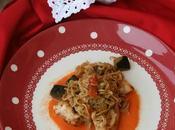 Solomillos pollo fideos orientales verduras gazpacho