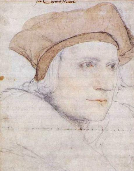 Portrait Study of Sir Thomas More. Black and coloured chalks on unprimed paper, 38 × 25.8 cm, Royal Collection, Windsor. Drawing by Hans Holbein the Younger (1498–1543).