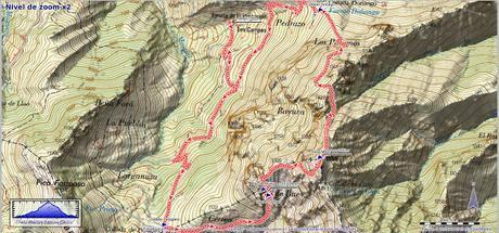 Mapa de la Ruta Peña Mea Les Campes