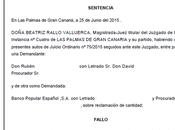 Nueva sentencia ganada anulando otra cláusula suelo Canarias recuperando pagado