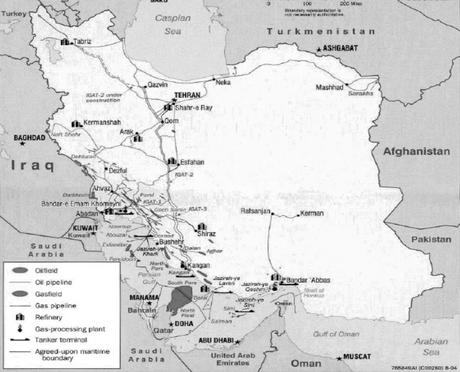 """Oportunidades de Negocio en Irán: yacimientos de petróleo y gas. Fuente: C.I.A, U.S.A (vía Embajada Española en Teherán, Oficina Comercial: """"Irán oportunidades de negocio"""", mayo 2005)."""