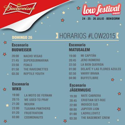 Horarios del Low Festival 2015