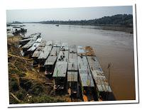 Slow boat in Mekong river