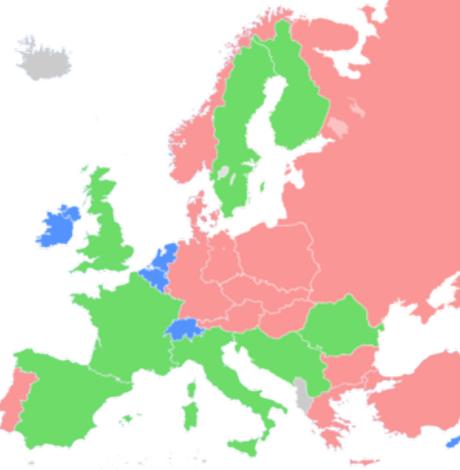 Mapa que refleja la división del comunismo tras la conferencia de 1976. Los países marcados en verde son los que se alejaron de la ortodoxia de Moscú. Los Estados en rojo los que siguieron alineados a los postulados del PCUS