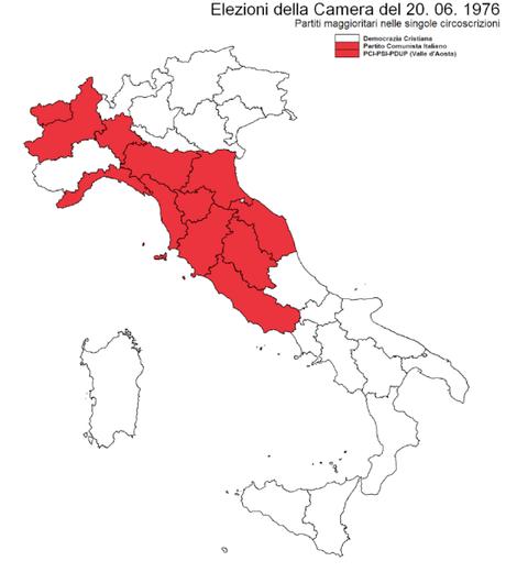 En rojo aquellas regiones donde el PCI obtuvo la mayor parte de votos a la Cámara de Diputados italiana, mientras que en blanco están aquellas regiones donde la Democracia Cristiana obtuvo la mayoría de los sufragios