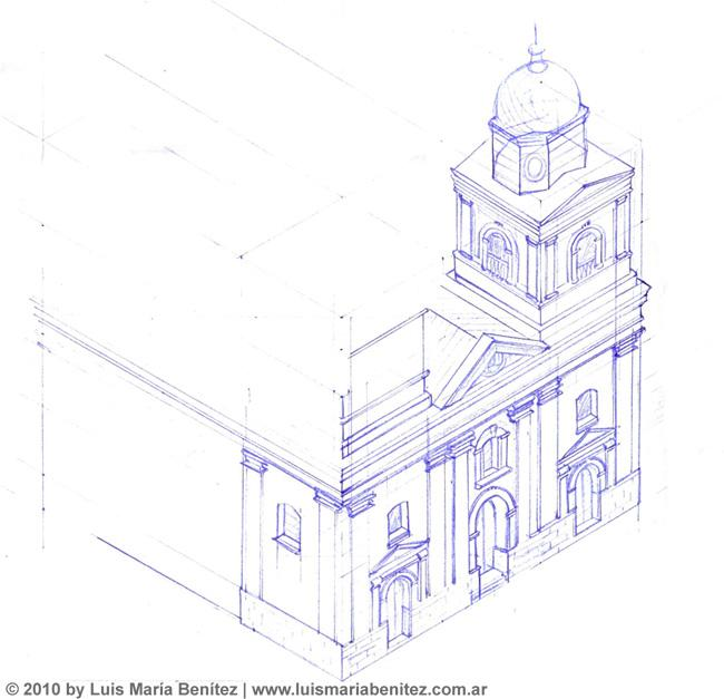 Church in isometric projection