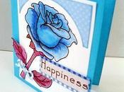 """Una rosa pintada azul"" tarjeta scrapbook para Walt's Scraps"