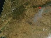 España: Imagen satélite incendios Sierra Gata (Cáceres. Extremadura)