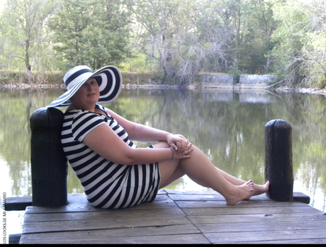 look outfit con vestido de rayas y pamela de rayas de zara temporada verano 2015 en los looks de mi armario talla grande blogger plus size post
