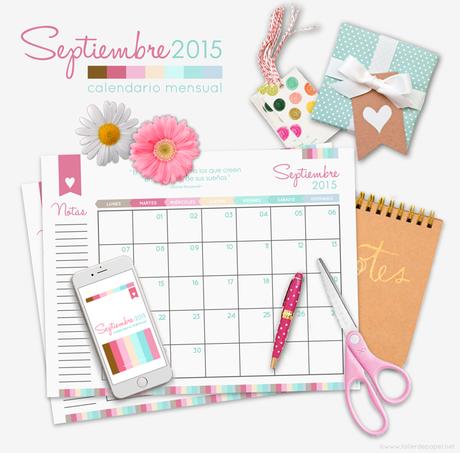 Llegó Septiembre y con este nuevo mes de este año 2015, te dejo el calendario mensual para que descargues y puedas imprimir y así organizarte en este mes, que nos trae a la Primavera de vuelta! Es GRATIS, no te lo pierdas!!