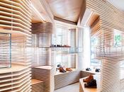 Laminas madera, diseño zapatería Nueva York