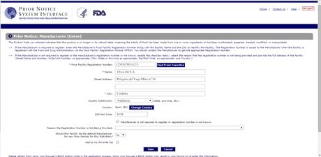 Como preparar un Prior Notice y solicitar autorizacion para importar productos de alimentacion en los Estados Unidos ante la FDA (Food and Drugs Administration)