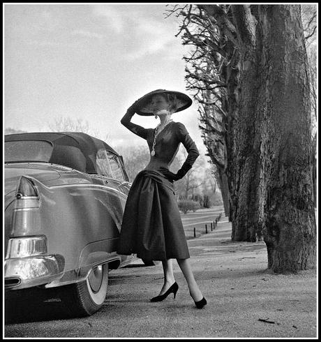 Stella in dress by Jacques Fath, photo by Willy Maywald, Paris, 1955