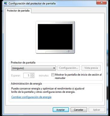 menu configuracion salvapantallas windows